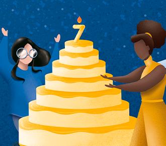 A imagem ilustra várias pessoas comemorando, e um bolo de 07 andares, simbolizando o aniversário de 07 anos da PrintWayy.