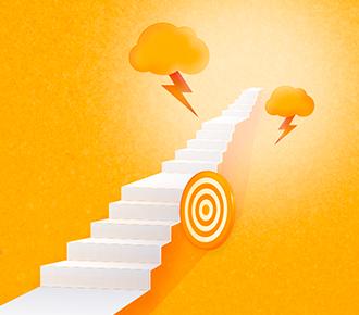 A imagem ilustra uma escada, cercada por elementos como um alvo e nuvens com raios, simbolizando o caminho e desafios do outsourcing de impressão.