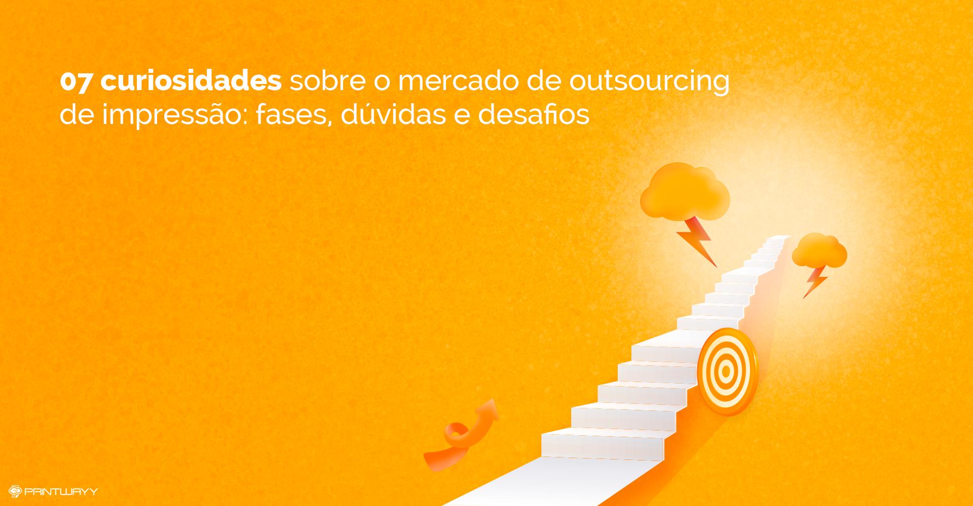 A imagem ilustra uma escada, cercada por elementos como um alvo, flecha e nuvens com raios, simbolizando o caminho e desafios do outsourcing de impressão.