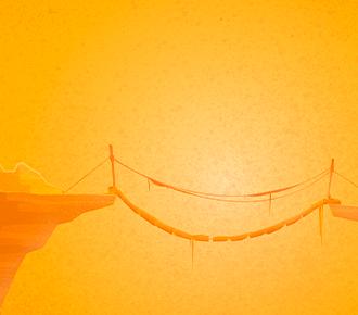 Ilustração de uma ponte ligando duas montanhas.