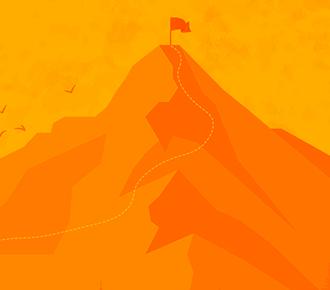 Ilustração de uma floresta e, ao fundo, uma montanha, com pontilhados que trilham até o seu topo, onde há uma bandeira.