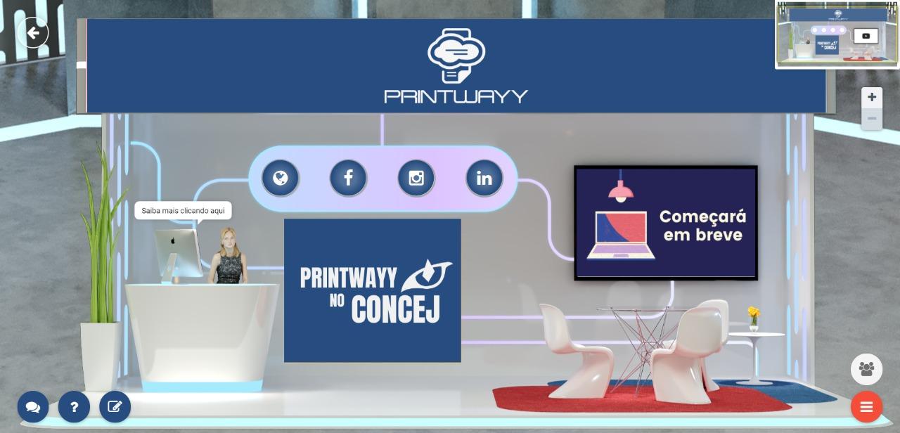 Estande virtual da PrintWayy no ConCEJ 21, com acesso a todas as mídias sociais da empresa.