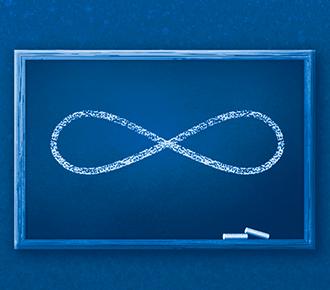 A imagem ilustra um quadro escolar, com o desenho de um símbolo do infinito. Simbolizando, assim, o conceito de lifelong learning, que é aprender de forma contínua.