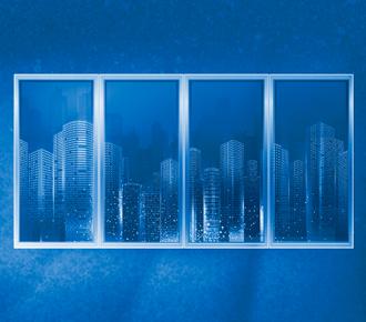 A imagem ilustra uma janela, a qual mostra uma cidade ao fundo.