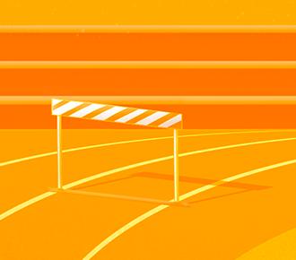 Uma arquibancada e, em frente a ela, há uma pista de corrida com obstáculos, simbolizando os indicadores de competitividade.