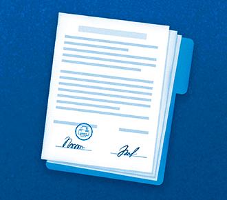 Imagem de uma folha de contrato, com assinaturas e carimbo em formato de impressora, representando um contrato para locação de impressoras.