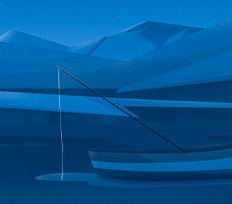 Na imagem há montanhas e um barco, com uma vara de pescar, dentro de um lago.